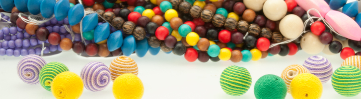 colored wooden beads