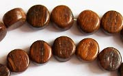 Flat Round, 5x9mm, Robles beads, EXOTIC WOODEN BEADS