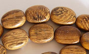 Flat Oval, 5x9x12mm, Robles beads, EXOTIC WOODEN BEADS