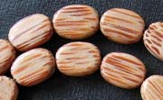 Flat Oval, 5x9x12mm, Palmwood beads, EXOTIC WOODEN BEADS
