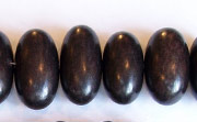 Oval, Side Drill, 21x12mm, Ebony beads, EXOTIC WOODEN BEADS
