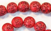 Round, 10mm, Salwag, Blood Red beads, DYED  SEED & NUT BEADS