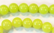 Round, 8mm, Buri, Lime Green beads, DYED  SEED & NUT BEADS