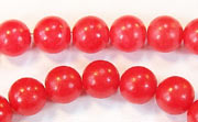 Round, 8mm, Buri, Blood Red beads, DYED  SEED & NUT BEADS