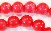 Round, 10mm, Buri, Blood Red beads, DYED  SEED & NUT BEADS