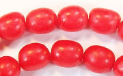 Oval, 10x12mm, Buri, Blood Red beads, DYED  SEED & NUT BEADS