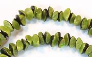 Nuggets, 7x4mm, Buri, With Skin, Lime Green beads, DYED  SEED & NUT BEADS
