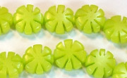 Flower, 5x11mm, Buri, Lime Green beads, DYED  SEED & NUT BEADS
