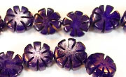 Flower, 5x11mm, Buri, Royal Purple beads, DYED  SEED & NUT BEADS