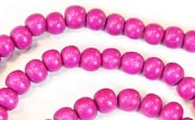 Round, 4/5mm, Wood, Fuchsia beads, DYED WOODEN BEADS