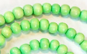 Round, 6mm, Wood, Lime Green beads, DYED WOODEN BEADS