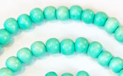 Round, 6mm, Wood, Turquoise beads, DYED WOODEN BEADS