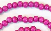 Round, 6mm, Wood, Fuchsia beads, DYED WOODEN BEADS