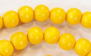 Round, 8mm, Wood, Golden Yellow beads, DYED WOODEN BEADS