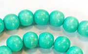 Round, 8mm, Wood, Turquoise beads, DYED WOODEN BEADS