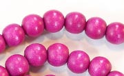 Round, 8mm, Wood, Fuchsia beads, DYED WOODEN BEADS