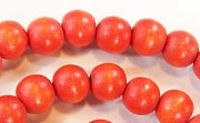 Round, 8mm, Wood, Tomato Red beads, DYED WOODEN BEADS