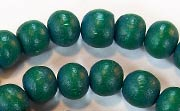 Round, 10mm, Wood, Forest Green beads, DYED WOODEN BEADS