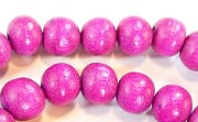 Round, 10mm, Wood, Fuchsia beads, DYED WOODEN BEADS