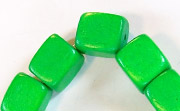 Dice, 10x10x10mm, Wood, Kelly Green beads, DYED WOODEN BEADS