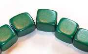 Dice, 10x10x10mm, Wood, Forest Green beads, DYED WOODEN BEADS
