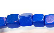 Dice, 10x10x10mm, Wood, Royal Blue beads, DYED WOODEN BEADS