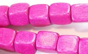 Dice, 10x10x10mm, Wood, Fuchsia beads, DYED WOODEN BEADS