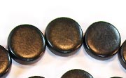 Flat Round, 5x15mm, Wood, Black beads, DYED WOODEN BEADS
