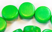 Flat Round, 5x15mm, Wood, Kelly Green beads, DYED WOODEN BEADS