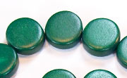 Flat Round, 5x15mm, Wood, Forest Green beads, DYED WOODEN BEADS