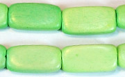 Flat Rect, 4x10x18.5mm, Wood, Lime Green beads, DYED WOODEN BEADS