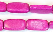Flat Rect, 4x10x18.5mm, Wood, Fuchsia beads, DYED WOODEN BEADS