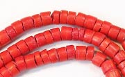 Heishi, 4/5mm, Coco, Scarlet Red beads, DYED COCONUT BEADS