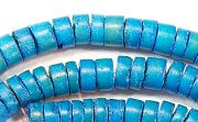 Heishi, 7/8mm, Coco, Azure Blue beads, DYED COCONUT BEADS