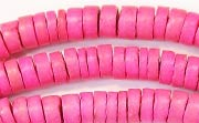 Heishi, 7/8mm, Coco, Hot Pink beads, DYED COCONUT BEADS