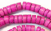 Heishi, 7/8mm, Coco, Fuchsia beads, DYED COCONUT BEADS