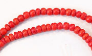 Pucalet, 2/3mm, Coco, Scarlet Red beads, DYED COCONUT BEADS