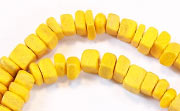 Square Cut, 4x4mm, Coco, Golden Yellow beads, DYED COCONUT BEADS