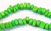 Square Cut, 4x4mm, Coco, Spring Green beads, DYED COCONUT BEADS