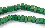Square Cut, 4x4mm, Coco, Forest Green beads, DYED COCONUT BEADS