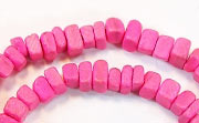Square Cut, 4x4mm, Coco, Hot Pink beads, DYED COCONUT BEADS