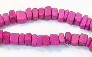 Square Cut, 4x4mm, Coco, Fuchsia beads, DYED COCONUT BEADS