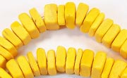 Square Cut, 7/8mm, Coco, Golden Yellow beads, DYED COCONUT BEADS