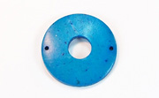 Donut, 25/8mm, Coco, 2 Holes, Azure Blue beads, DYED COCONUT PENDANTS & PARTS