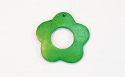 Donut Daisy Flower, 30/13mm, Coco, Forest Green beads, DYED COCONUT PENDANTS & PARTS