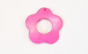 Donut Daisy Flower, 30/13mm, Coco, Hot Pink beads, DYED COCONUT PENDANTS & PARTS
