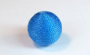 Round, 16mm, Wood, Cotton, Copen Blue beads, WRAPPED & CROCHET BEADS