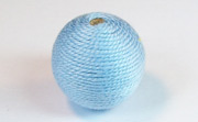 Round, 21mm, Wood, Cotton, Sky Blue beads, WRAPPED & CROCHET BEADS