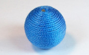 Round, 21mm, Wood, Cotton, Copen Blue beads, WRAPPED & CROCHET BEADS