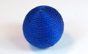 Round, 21mm, Wood, Cotton, Royal Blue beads, WRAPPED & CROCHET BEADS